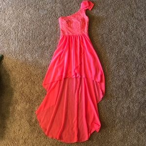 Neon Pink High Low Dress